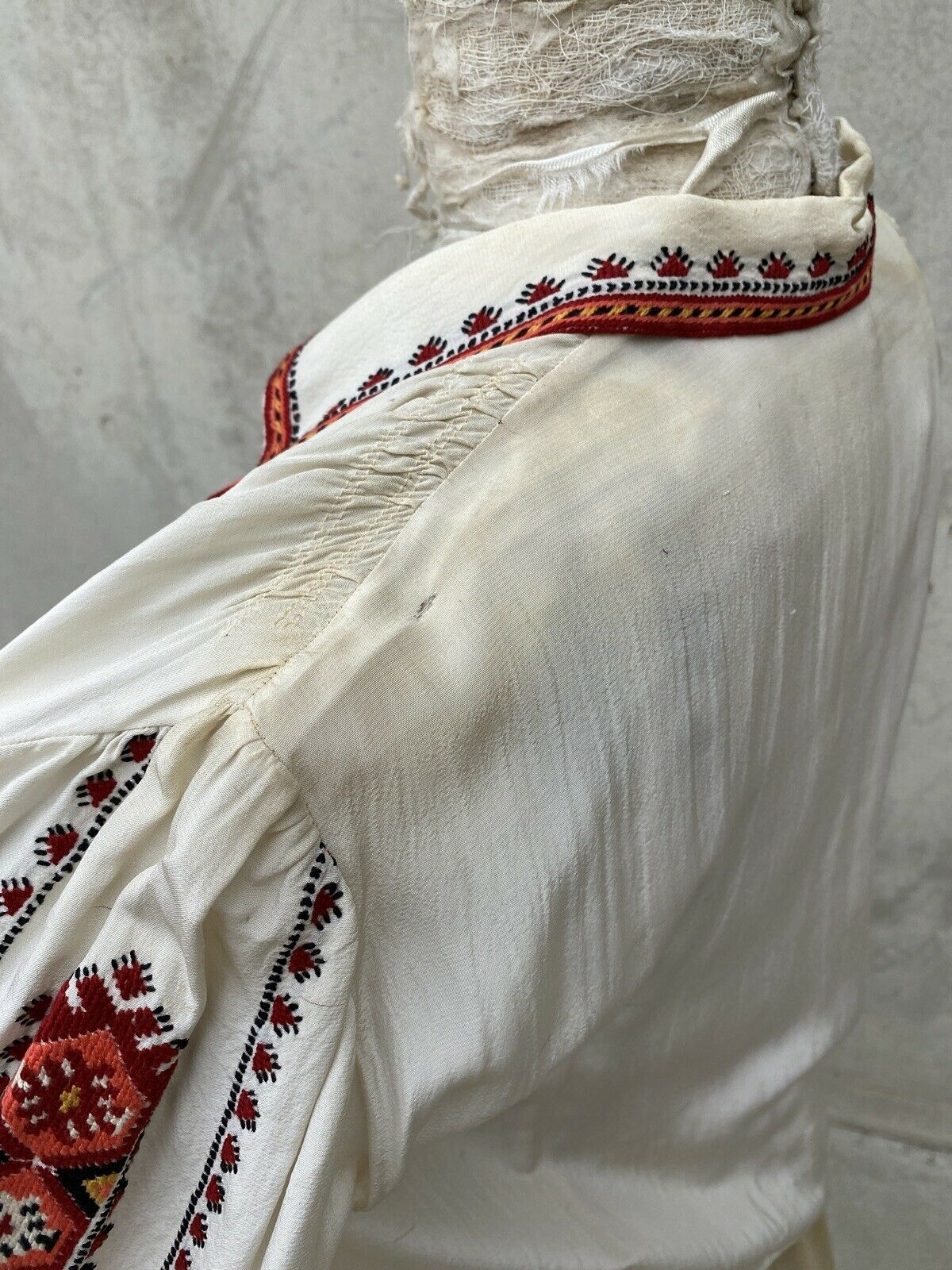 Antique 1930s White Silk Peasant Blouse Red Wool … - image 6