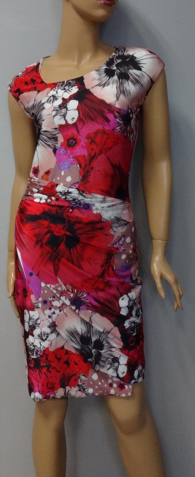 ROBERTO CAVALLI Luxus Designer Kleid Blaumen NEU Gr. XL -%%% rot.