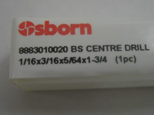 "1.59mm BS2 1//16/"" EUROPA TOOL 8883010020 P73 HSS CENTRE DRILL MADE BY OSBORN"