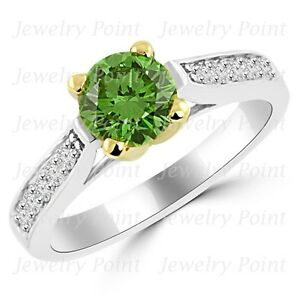 1-23ct-VS1-Fancy-Green-Diamond-Engagement-Bridal-Ring-18k-White-Two-Tone-Gold