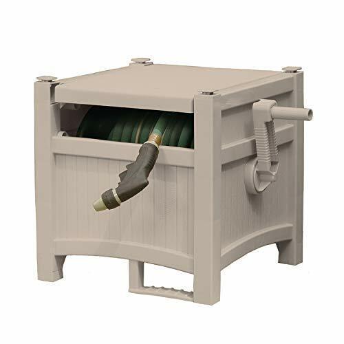 Mocha Brown and Slide Trak Hose Guide Lid Durable Hose Storage Reel with Crank Handle 175 Hose Capacity Suncast Resin Outdoor Hose Hideaway with Hose Guide