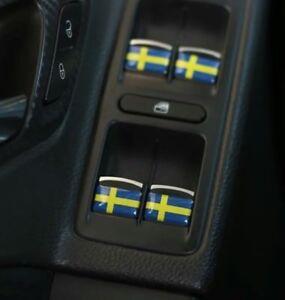 Schweden-Flagge-x4-Aufkleber-Plaketten-Logo-3D-Dome-Innen-Embleme-Saab-Volvo
