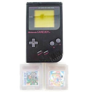 Nintendo-Game-Boy-Black-Play-It-Loud-Handheld-System-w-2-Games-TMNT-II-amp-Mario