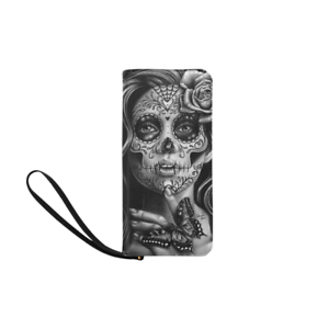Womens-Clutch-Zipper-Wallet-Purse-Day-of-the-Dead-Sugar-Skull-Girl-Tattoo-Flash