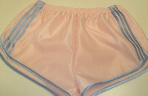 Retro Nylon Satin Sprinter Shorts S to 4XL Sky Blue Pink