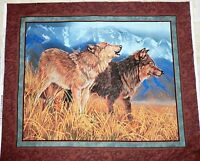 Territorial Trail Wall Hanging Wolf Fabric Panel Quilt Top Wild Wings Fabric