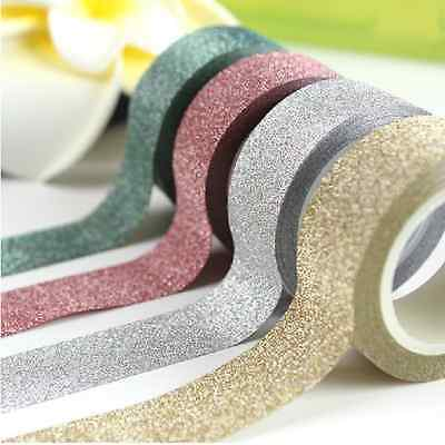 5M Glitter Washi Tape Paper Self Adhesive Stick On Sticky Craft Decorative DIY J