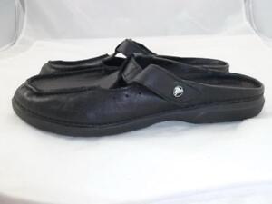 Crocs Women S 10 Used Black Leather Sandals Shoes Clogs