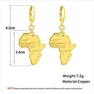 18ct Yellow Gold| Gold plated African Hoop Map Earrings|Shaped Stud|Ethnic Brass