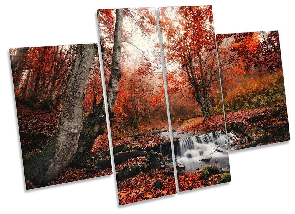 Woodland Paisaje ROJO DE LONA pared arte Foto panel de de panel cuatro e26679