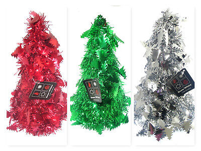 Foil Tinsel Cone Christmas Tree Table Decorations Gold Red Green 25cm choice