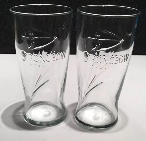 Strongbow Pear Cider Embossed Pint Glass x2 CE Marked New And Unused