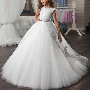 First Communion Ball Gown Wedding Bridesmaid Prom Princess Flower Girl Dress