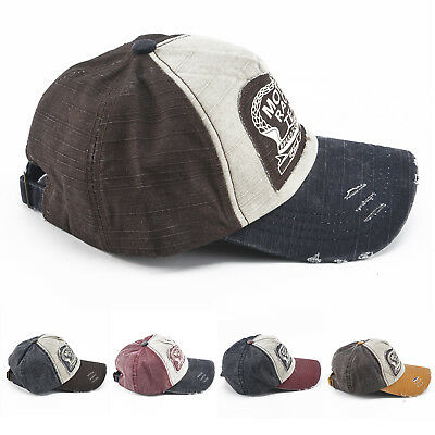 Vintage Baseball Cowboy Cap Men Women Adjustable Denim Distressed Trucker Hat UK