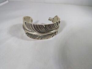 Navajo Handmade Sterling Silver Eagle Feather Chris Charley 6 34 Bracelet
