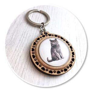 British Shorthair cat Wooden  keyring key ring British Blue short hair