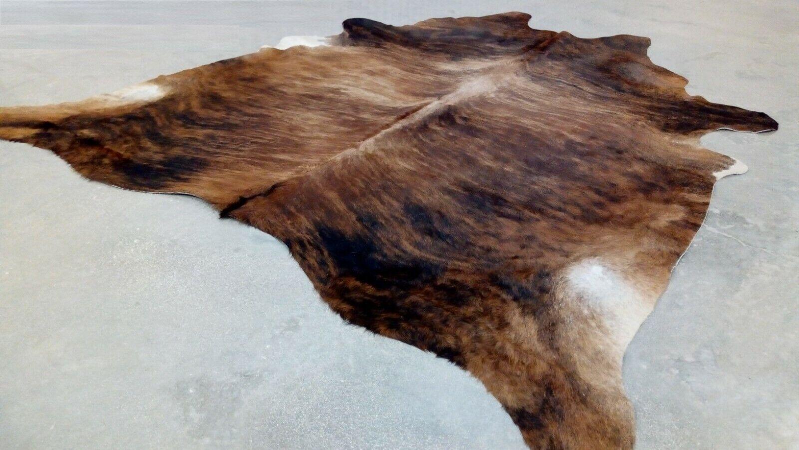 XLARGE BRINDLE braun COWHIDE RUG BRAZILIAN 7'x6' Ft Skin Rug Cow Hide Carpet