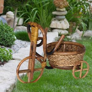 Détails sur Rotin Déco Fleurs Seau Pot Panier Tissage Jardin Bois Tricycle  Véranda Braun