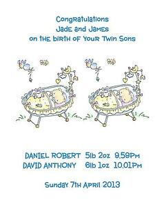 image is loading personalised a5 birth of baby boy twins congratulations