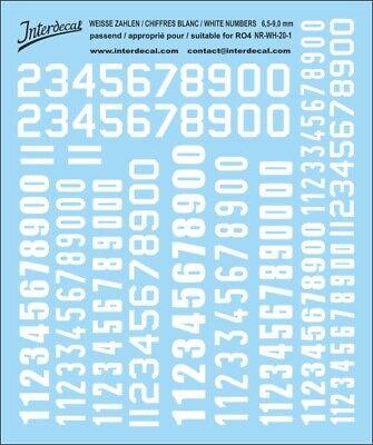 Schwarze Zahlen Decal für R01 6,5-9mm Naßschiebebild Startnummern NR-BK-20-3