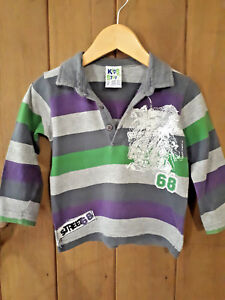 KIDS-STUFF-Green-Blue-Grey-Purple-Stripe-Cotton-LONG-SLEEVE-COLLAR-SHIRT-Size-2