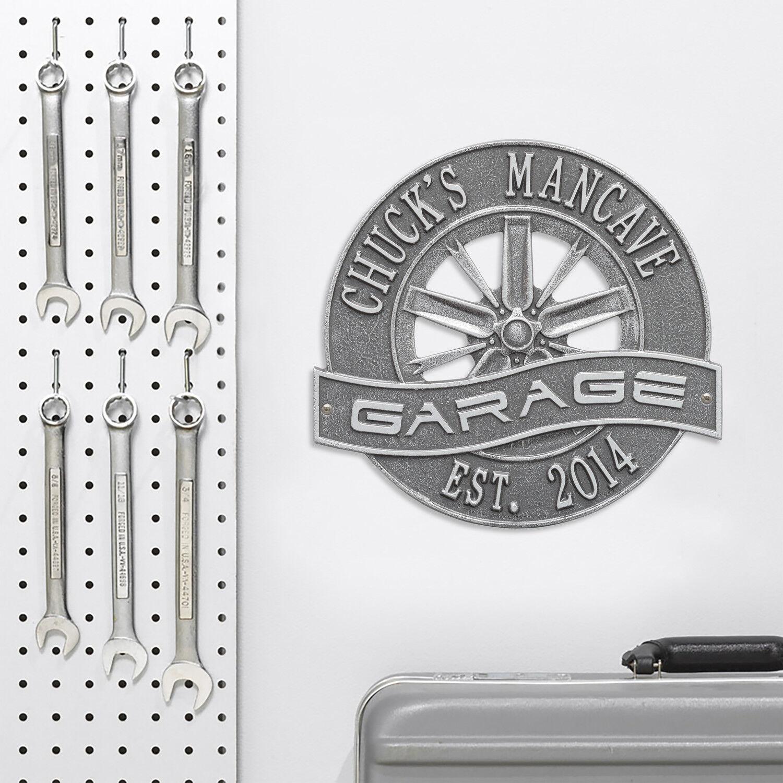 Racing Wheel Personalized Garage Sign