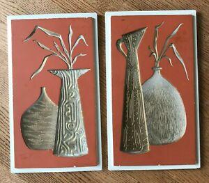 Set-of-2-Vintage-MCM-Chalkware-Orange-amp-Cream-Wall-Plaques-Vases-amp-Leaves-9-034-x15-034