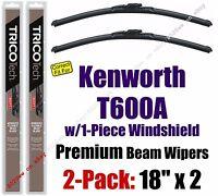 Wipers 2pk Premium - Fit 2007 Kenworth T600a W/1-piece Windshield - 19180x2