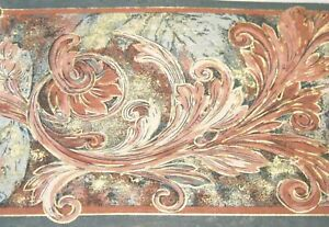 Taupe-Teal-Green-Mauve-Pink-Gold-Acanthus-Leaf-Scroll-Wall-paper-Border-7099