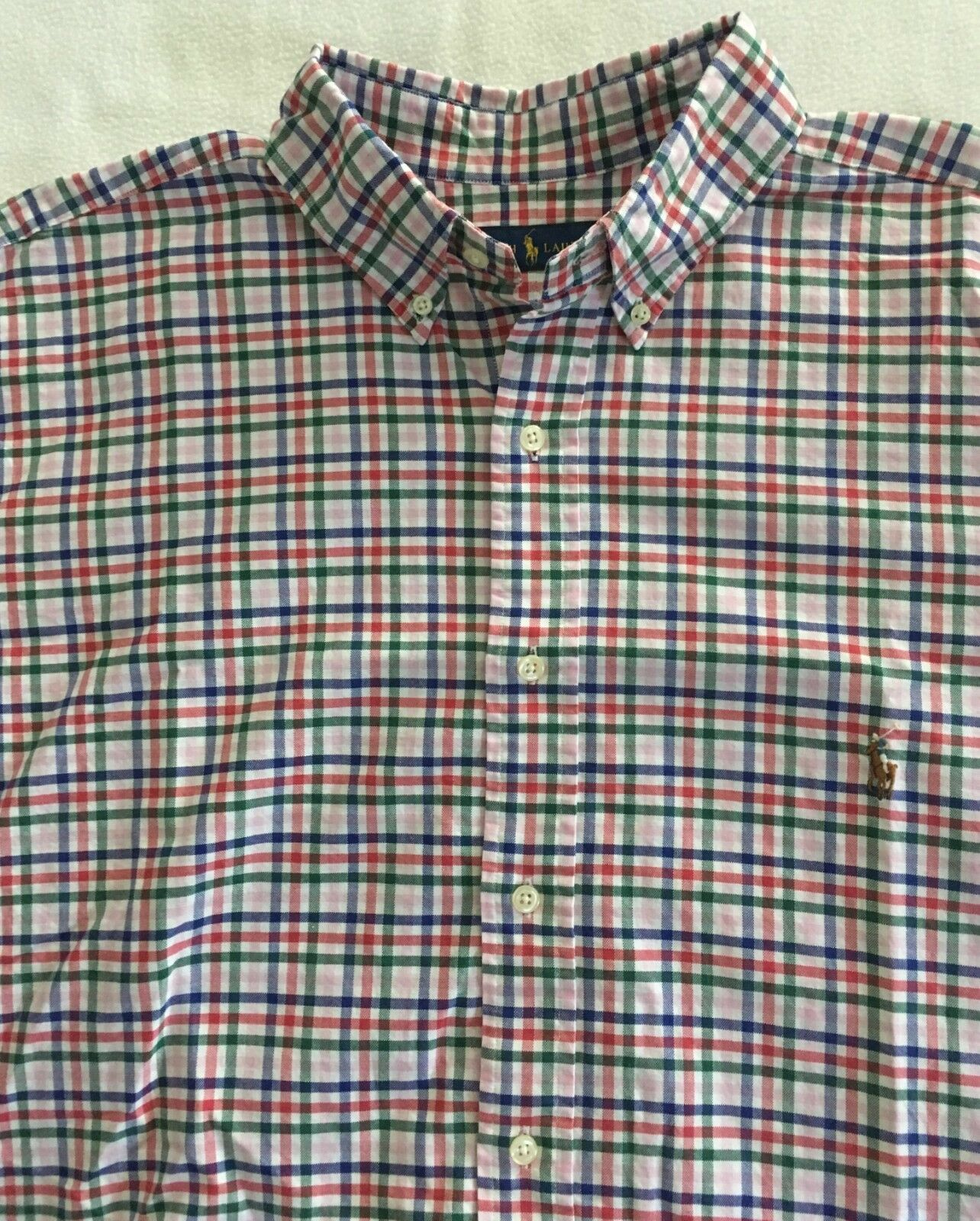 Polo Ralph Lauren Mens Big&Tall Plaid Oxford ShirtPink Red Green bluee3LTNWT