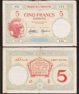 5-FRANCS-1928-1938-DJIBOUTI-P6b-Banque-de-l-039-Indochine-France-Somalis