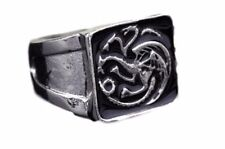 Game of Thrones TARGARYEN Logo Stainless Steel Band Ring Men's Size 8