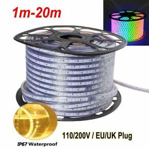 LED-Strip-Lights-110V-220V-5050-SMD-IP67-Waterproof-Tape-Rope-1-20M-EU-UK-Plug