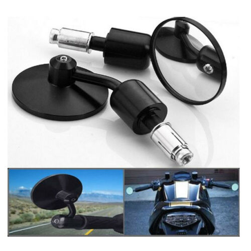 """Motorcycle Aluminum Black Round CNC Rear View 3/"""" Handle Bar End 7//8/"""" side Mirror"""