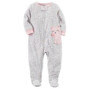 2693c7ca4 CARTER S® Baby Girls 18M Cat Leopard Print Fleece 1-Piece Pajama or ...