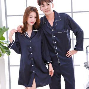 e5e87fcedc Womens Mens Soft Silk Satin Pajamas Sets Long Sleeve Pyjamas ...