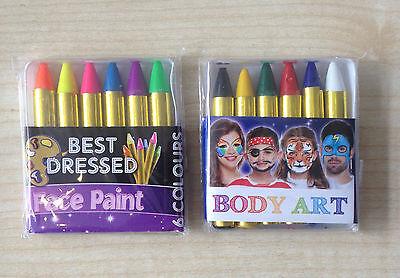 Face /& Body Painting Crayon Set Sticks Party Wedding//Kids 6 Colour Kit