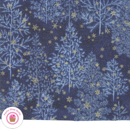 Moda FOREST FROST GLITTER 33520 17MG Blue Gold Metallic Trees Snow Quilt Fabric