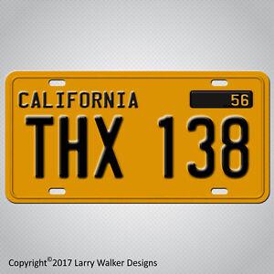 American-Graffiti-THX-138-METAL-Replica-Prop-Aluminum-License-Plate-Tag