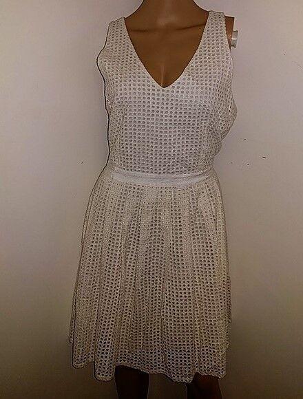 Joie Woherren Off Weiß Sleeveless Eyelet A-Line Dress Regular Größe Large