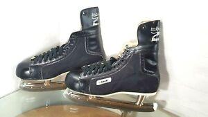 Vintage-Bauer-Black-Panther-Leather-Hockey-Black-Ice-Skates-Size-11