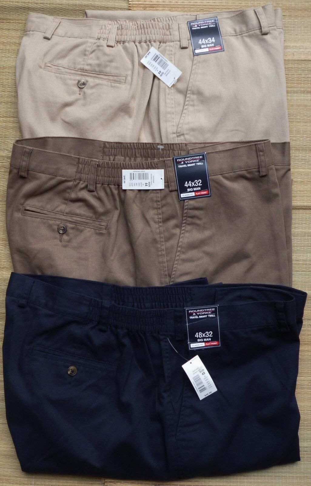 ROUNDTREE /& YORKE BIG /& TALL MEN/'S CASUAL TRAVEL SMART CLASSIC FIT PANTS LIST$46
