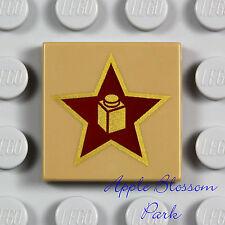NEW Lego RED & METALLIC GOLD STAR w/BRICK 2x2 Printed Dark Tan Flat Minifig Tile