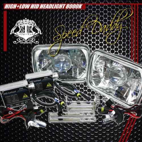 7X6 H6054 CLEAR SQUARE DIAMOND PROJECTOR LIGHTING HEADLIGHTS W//H4 8000K HID