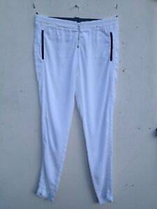 RIVER-ISLAND-WHITE-ELASTIC-WAIST-ZIP-JOGGER-LOOSE-TAPERED-TROUSERS-14-16-LONG