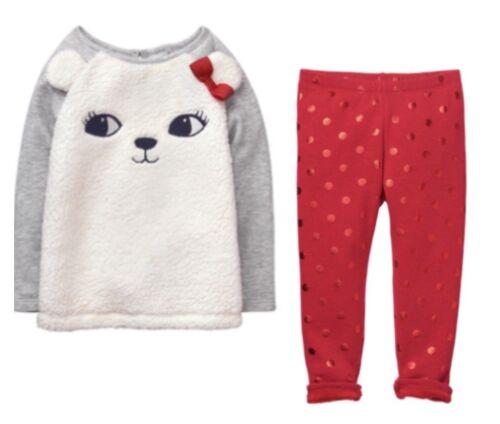 Gymboree North Pole 4T 5T Winter Holiday Set Bear Sherpa Girl Shirt Leggings Red