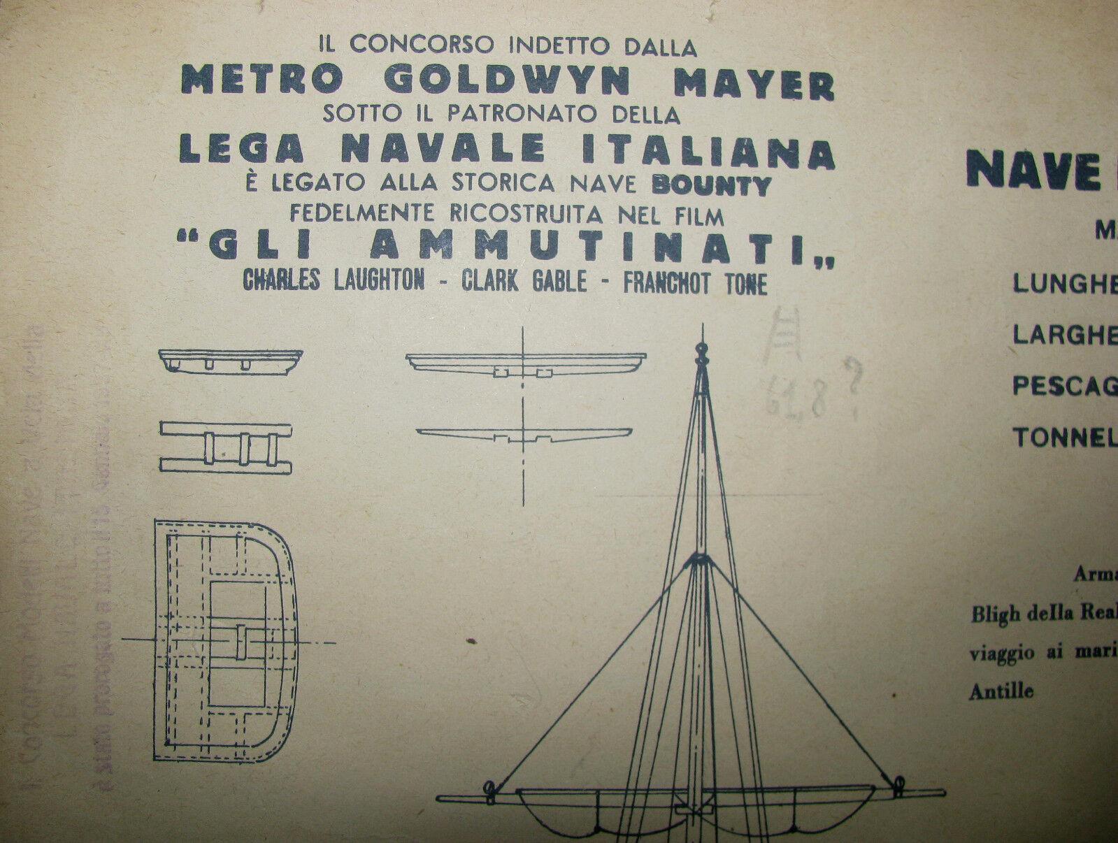 CARTAMODELLO NAVE DA GUERRA A VELA BOUNTY.CONCORSO METRO oroWYN MAYER 1937.