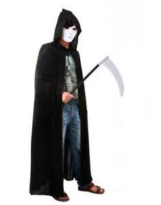 Adult-Men-Women-Hooded-Robe-Long-Black-Cloak-Cape-Halloween-Fancy-Costume-Dress