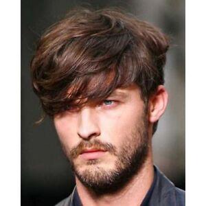 100% Real Hair!Men Stylish Natural Straight Short Brown Human Hair ... faebfb129