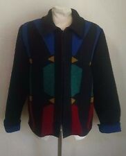 Wooded River Wool Blend Jacket Womens S Black Colorful Southwestern Geometric
